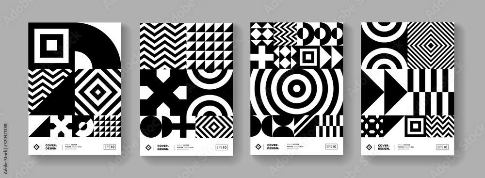 Fototapeta Cool minimal geometric poster collection vector design.  Trendy pattern.