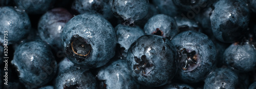 Photo Wet fresh Blueberry background. close up with selective focus