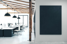 Modern Coworking Office With Empty Black Poster
