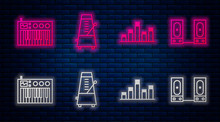Set Line Metronome With Pendulum In Motion, Music Equalizer, Music Synthesizer And Stereo Speaker. Glowing Neon Icon On Brick Wall. Vector