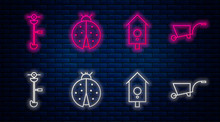Set Line Ladybug, Retro Wall Watch, Grass And Weed Electric String Trimmer And Wheelbarrow. Glowing Neon Icon On Brick Wall. Vector