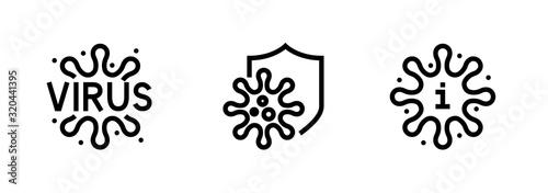 Stampa su Tela Microbe and Bacteria icons Editable Line