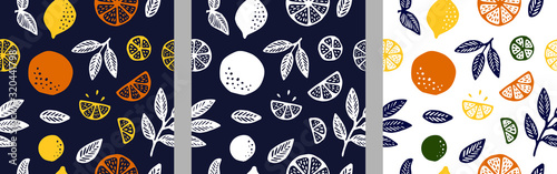 Tropical seamless pattern set with citrus - 320441798