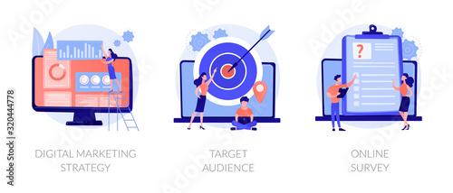 Biznes reklamowy, atrakcja klienta, zestaw ikon kwestionariusza internetowego. Cyfrowa strategia marketingowa, grupa docelowa, metafory ankiety online. Wektorowe metafory pojęcia odosobnione ilustracje