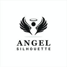 Angel Logo Silhouette Vector Illustration Design Template