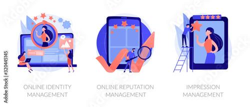Ustanowienie obecności w sieci, oprogramowanie CRM, autoprezentacja. Zarządzanie tożsamością online, zarządzanie reputacją online, metafory zarządzania wyświetleniami. Wektorowe metafory pojęcia odosobnione ilustracje