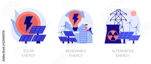 Photo Eco friendly innovations, sustainable technology, solar panels and wind turbines use