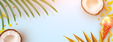 Tropical Summer Background. Realistic Coconut, Tropical Palm Leaves, Ice Cream, Yellow Flower Petals, Food French Fries. Golden Palm Branches. Flat Lay, Top View Template With Place For Text.