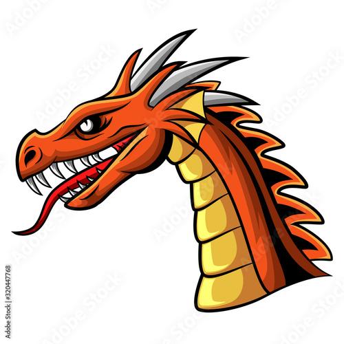 Cartoon angry dragon head mascot #320447768