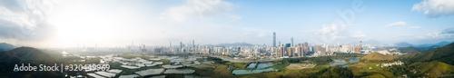 Valokuva Panorama view of beautiful sunset with skylines of Shenzhen,China