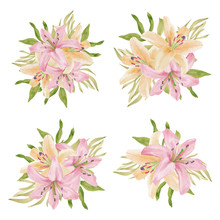 Watercolor Lily Tropical Flowe...