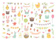 Unique Vector Easter Clipart With Hand Drawn Easter Elements. Isolated Cute Spring Cartoon Clip Art Set: Bunny, Cat, Bear, Eggs, Deer, Chicken, Floral Frame, Flower, Rainbow, Basket, Bird, Ribbon Etc.