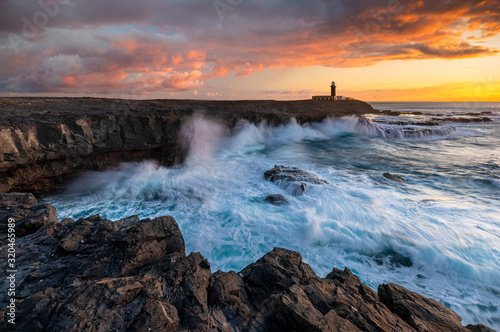 Beautiful sunset on the cliffs of Faro de Jandia in Fuerteventura Fototapeta