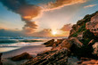 Leinwanddruck Bild Fantastic summer sunset on Sardinia, Italy, Europe. Spectacular morning view on Del Sinis peninsula. Amazing seascape of Mediterranean sea. Traveling concept background.