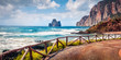 Leinwanddruck Bild Panoramic summer view of popular tourist destination - Concali Su Terrainu. Splendid morning scene of Sardinia island, Italy, Europe. Astonishing seascape of Mediterranean sea.