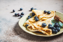 Crepes With Blueberries And Ho...