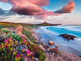 Fototapeta Eko Windy spring scene of Sardinia, Italy, Europe. Fantastic morning view of Capo San Marco Lighthouse on Del Sinis peninsula. Stunning seascape of Mediterranean sea. Traveling concept background.