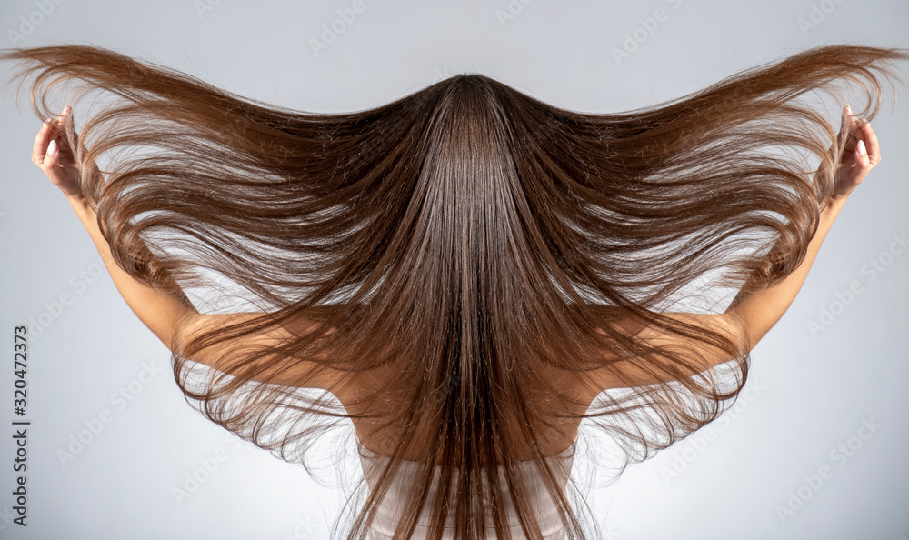 Fototapeta Back view of a brunette woman with a long straight hair.