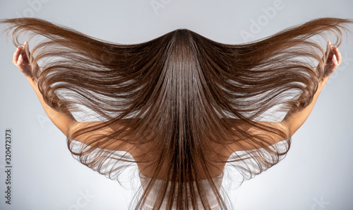 Obraz Back view of a brunette woman with a long straight hair. - fototapety do salonu