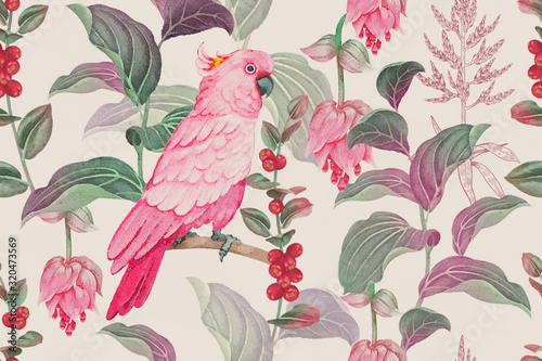 Tropical seamless floral pattern. Watercolor nature illustration. Canvas-taulu