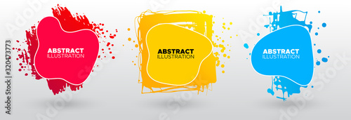 Fototapeta Set of modern abstract vector banners. Ink style shapes of gradient colors on white background. obraz