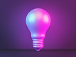 canvas print picture bulb in neon light, abstract background. minimalism concept. 3d rendering