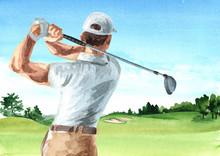 Man Playing Golf On Beautiful ...