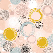 Abstract Seamless Pattern With Scribble Textures.