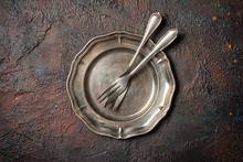 Two Vintage Silver Forks On Plate