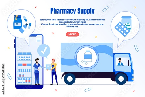 Cuadros en Lienzo Pharmacy Supply Trendy Flat Vector Web Banner, Landing Page Template