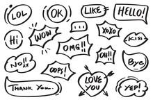 Hand Drawn Set Of Speech Bubbl...