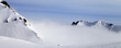 Leinwanddruck Bild Panoramic view on off-piste ski slope