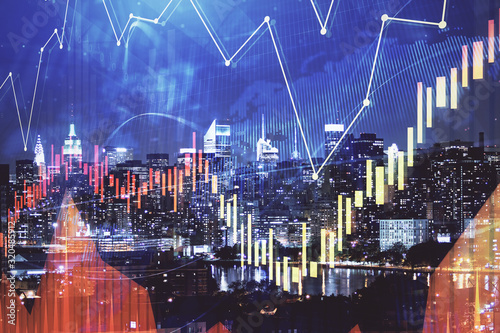 Fototapeta Double exposure of forex chart drawings over cityscape background. Concept of success. obraz