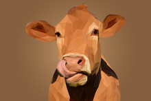 Brown Cow Head In Lowpoly Illustration