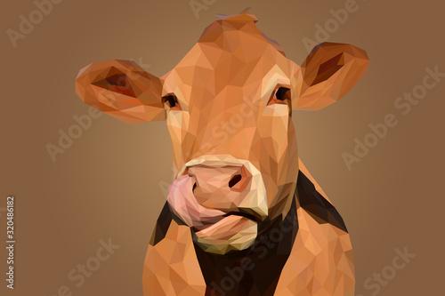 Naklejki krowa  brazowa-glowa-krowy-na-ilustracji-lowpoly