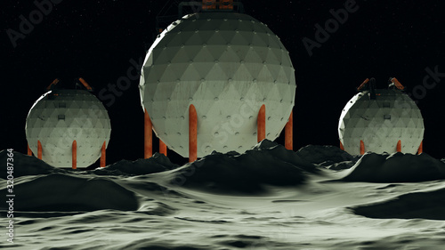 Moon Base man on the Moon Orange White 3d Illustration 3d render Tapéta, Fotótapéta