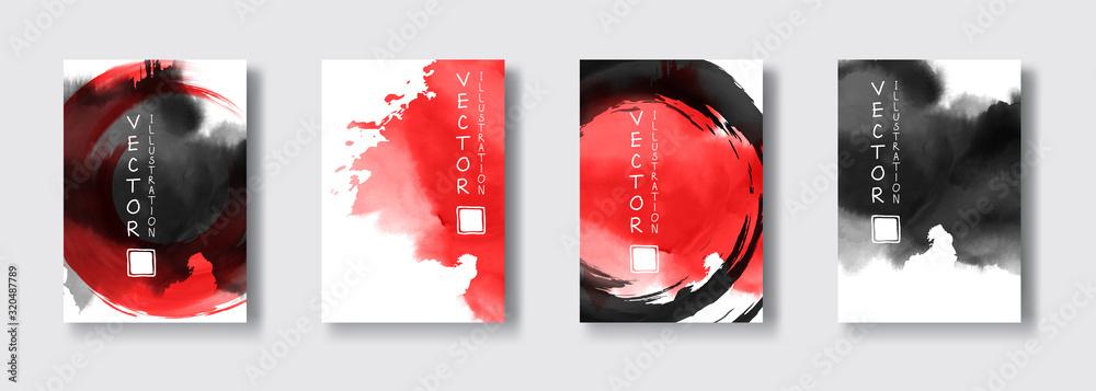 Fototapeta Black red ink brush stroke on white background. Japanese style.
