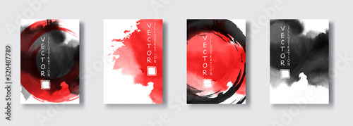 Black red ink brush stroke on white background. Japanese style. Canvas Print