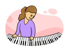 Woman In Purple Dress Playing The Piano.Music Teacher Practising. Colorful Flat Vector Illustration. Isolated On White Background.
