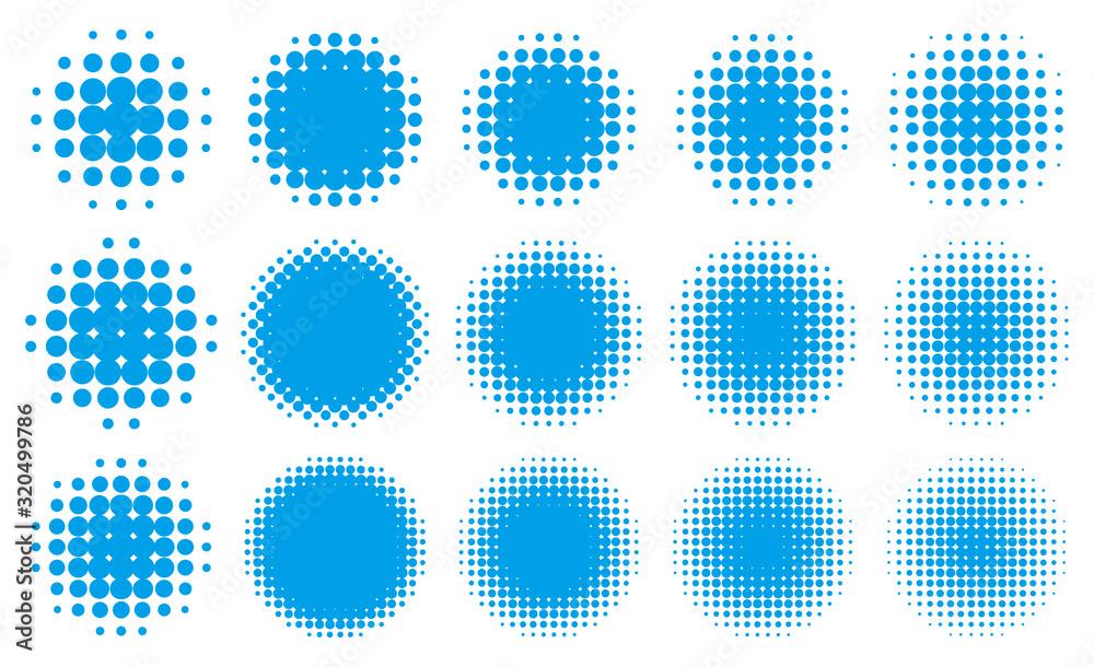 Fototapeta 円形の網点グラデーション・セット