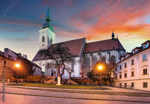 Bratislava - St. Martin's Cathedral at sunset, Slovakia