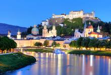 Salzburg Skyline At Night, Aus...