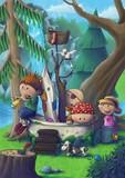 Kinder spielen Piraten im Wald in einer Badewanne.