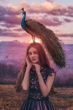 Beautiful Woman With Peacock Photoshoot