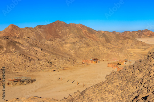 Buildings in bedouin village in Arabian desert, Egypt. View from above
