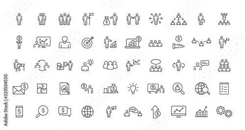 Photo Set of Teamwork and Business people web icons in line style