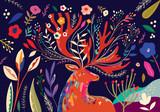 Piękna wiosny sztuki pracy ilustracja z kwiatami i rogaczem - 320505565