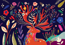 Beautiful Spring Art Work Illustration With Flowers And Deer
