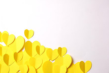 Yellow Paper Hearts Cutouts On White Background With Empty Space For Custom Text