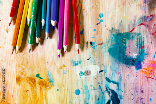 Fototapety, obrazy: Colorful Pencils on Wood Grunge Background with Colorful Paint Stains